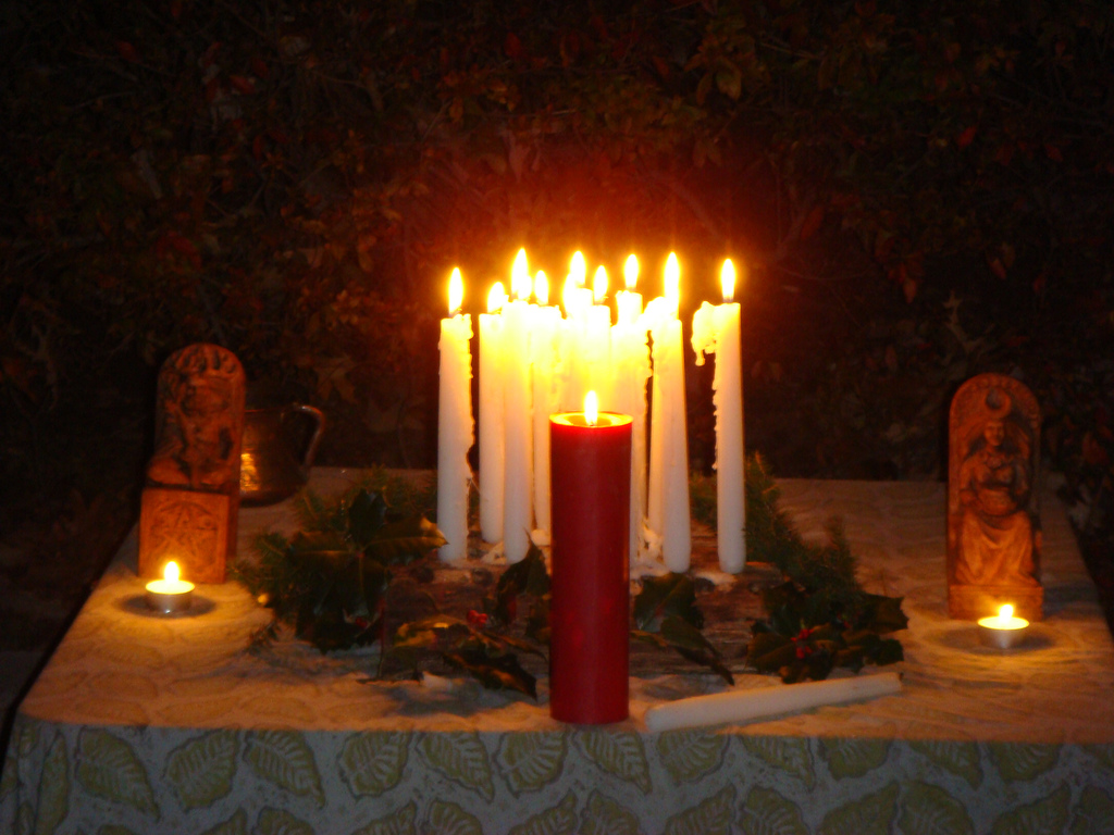 Lighting Our Solstice Candles In Wingra >> Deaf Pagan Crossroads
