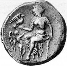 goddess and dove coin
