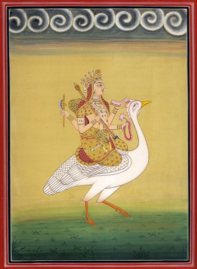 hindu goddess on bird