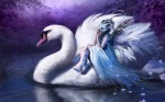 swan and woman