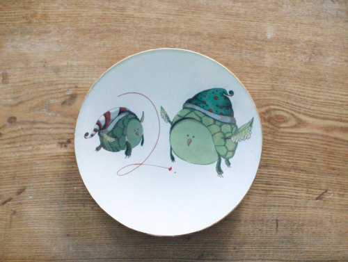 turtle doves plate